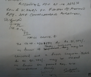 cheque to Samaja cancelled for ch.to Roy