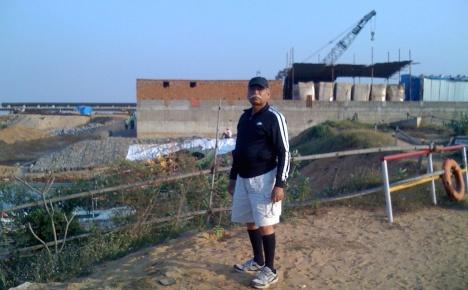 Subhas Ch. Pattanayak on the spot where Mahanadi is strangulated for industry