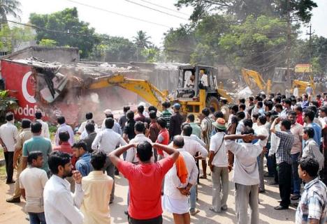 demolition of road side shops on 20.10.14