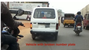 vehicle with broken number plate