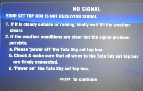 TATA Sky NO SIGNAL Shroud